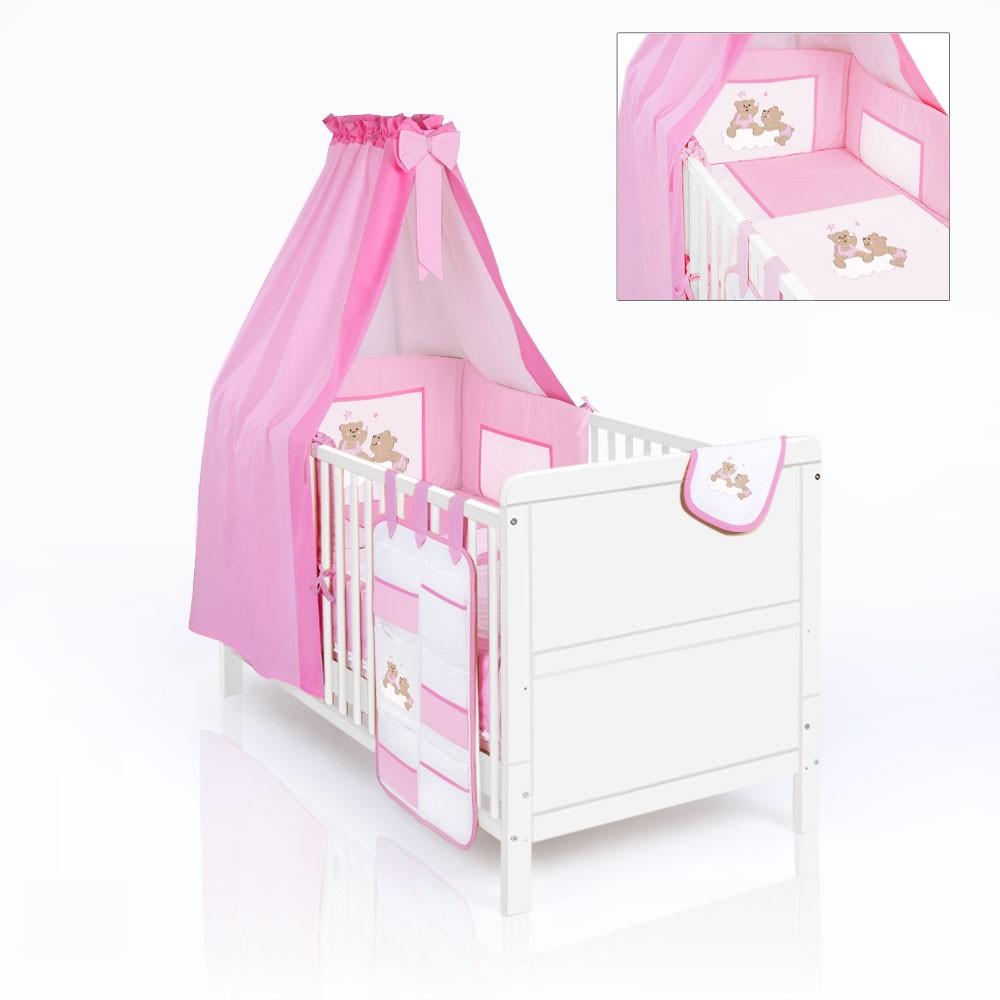 Babybett Kinderbett Natura weiss Bettset Joy rosa 17-tlg ...