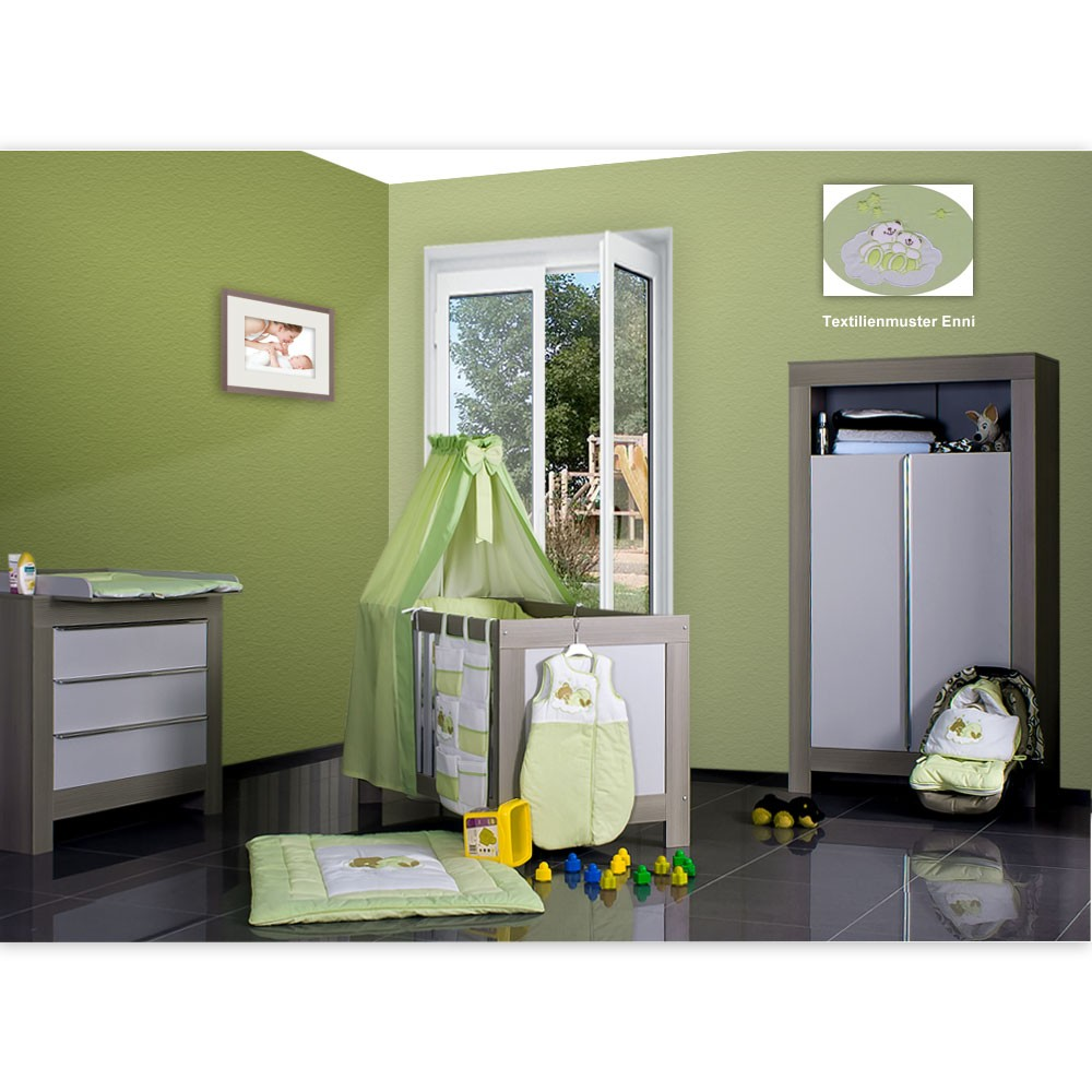 babyzimmer felix in akaziengrau 10 tlg mit 2 t rigem kl enni bear gr n baby m bel babyzimmer. Black Bedroom Furniture Sets. Home Design Ideas