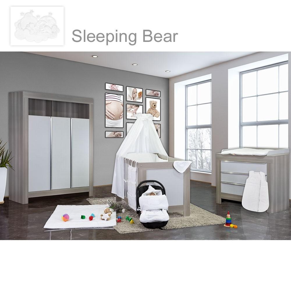 babyzimmer felix in akaziengrau 21 tlg. mit 3 türigem kl. sleeping