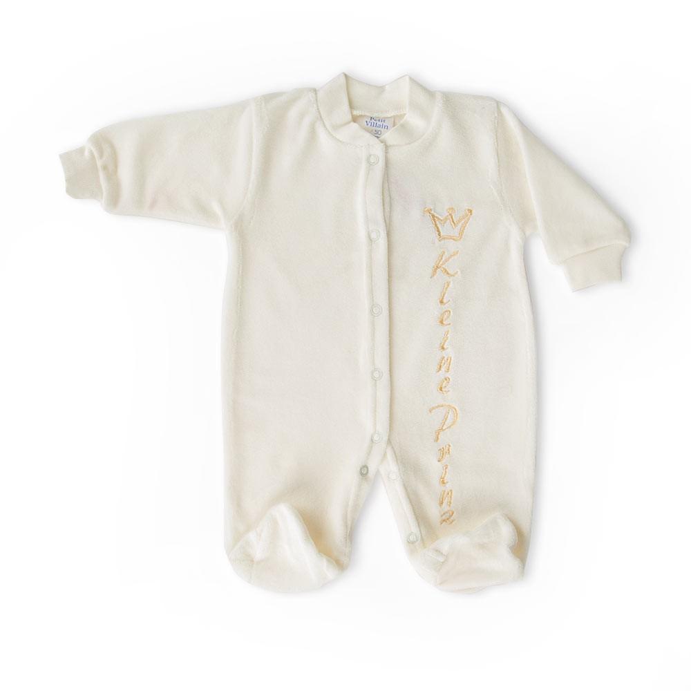 Babystrampler aus Nicki mit gestickter Applikation, Gr. 50, 56, 62 – Bild 6