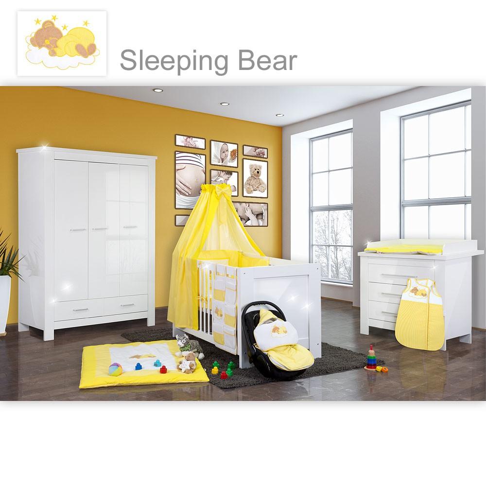 Babyzimmer enni hochglanz 19 tlg mit 3 t rigem kl textilien sleeping bear gelb baby m bel - Babyzimmer gelb ...