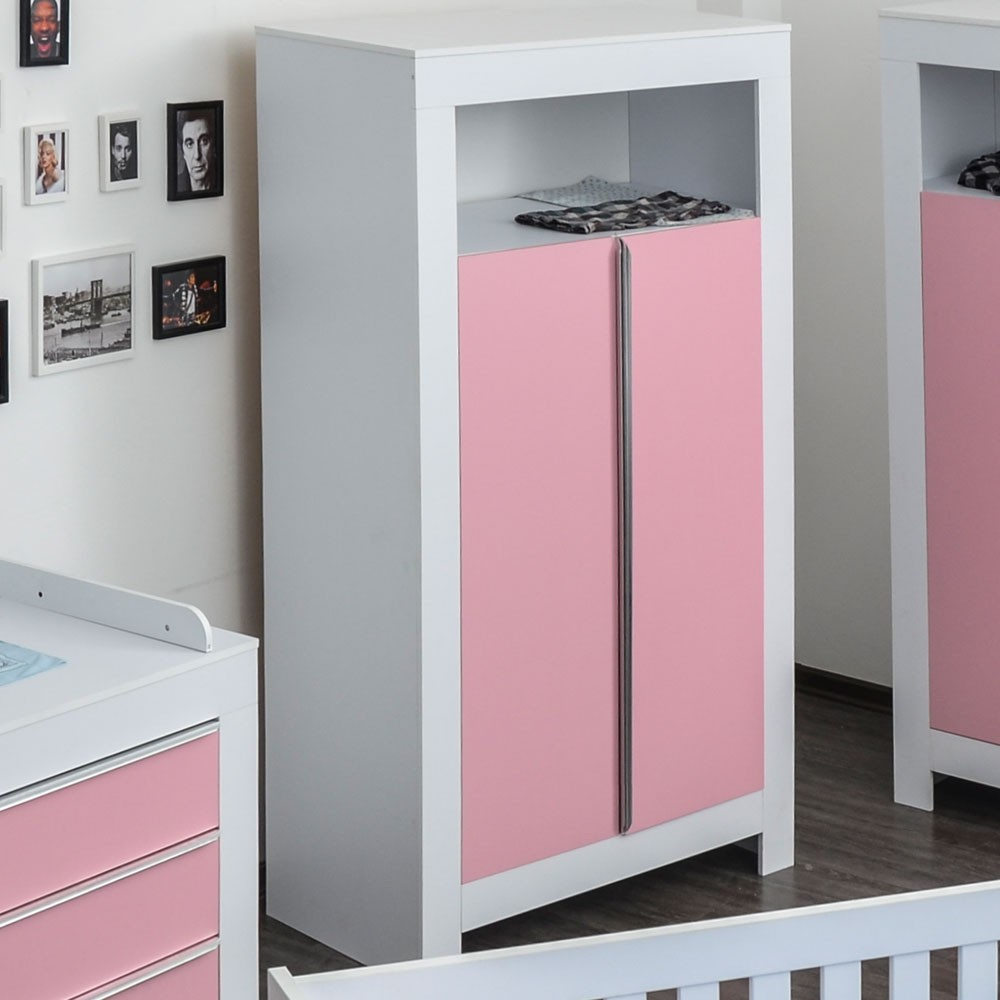 kleiderschrank 2 t rig felix in wei mit rosanen schrankt rfronten baby m bel kleiderschr nke. Black Bedroom Furniture Sets. Home Design Ideas