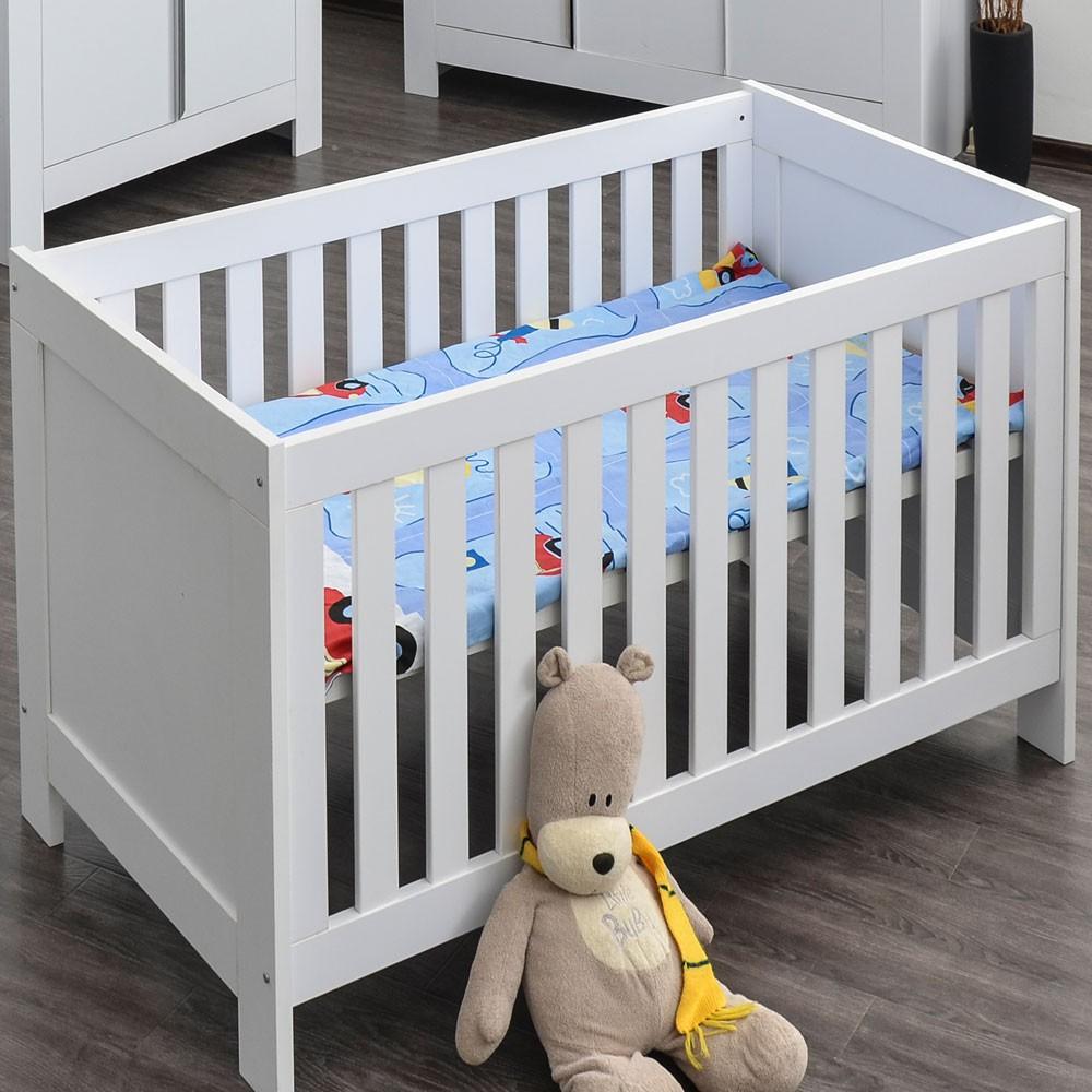 Babyzimmer / Kinderzimmer komplett Felix in Weiß, Komplettset mit grossem Kleiderschrank, Babybett mit Lattenrost, Wickelkommode mit Wickelaufsatz  – Bild 6