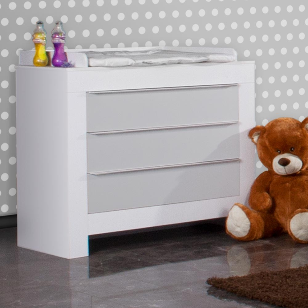 babyzimmer felix in weiss grau 19 tlg mit 2 t rigem kl sleeping bear in weiss baby m bel. Black Bedroom Furniture Sets. Home Design Ideas