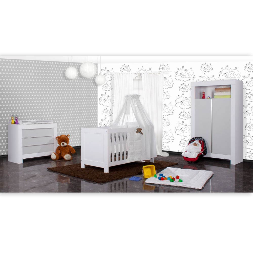 babyzimmer felix in weiss grau 19 tlg mit 2 t rigem kl. Black Bedroom Furniture Sets. Home Design Ideas