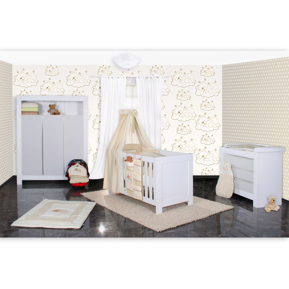 babyzimmer felix in weiss grau mit 3 t rigem kl 19 tlg sleeping bear beige baby m bel. Black Bedroom Furniture Sets. Home Design Ideas
