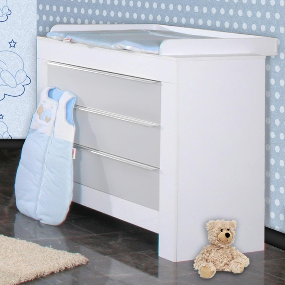 babyzimmer felix in weiss grau mit 3 t rigem kl 19 tlg sleeping bear blau baby m bel. Black Bedroom Furniture Sets. Home Design Ideas