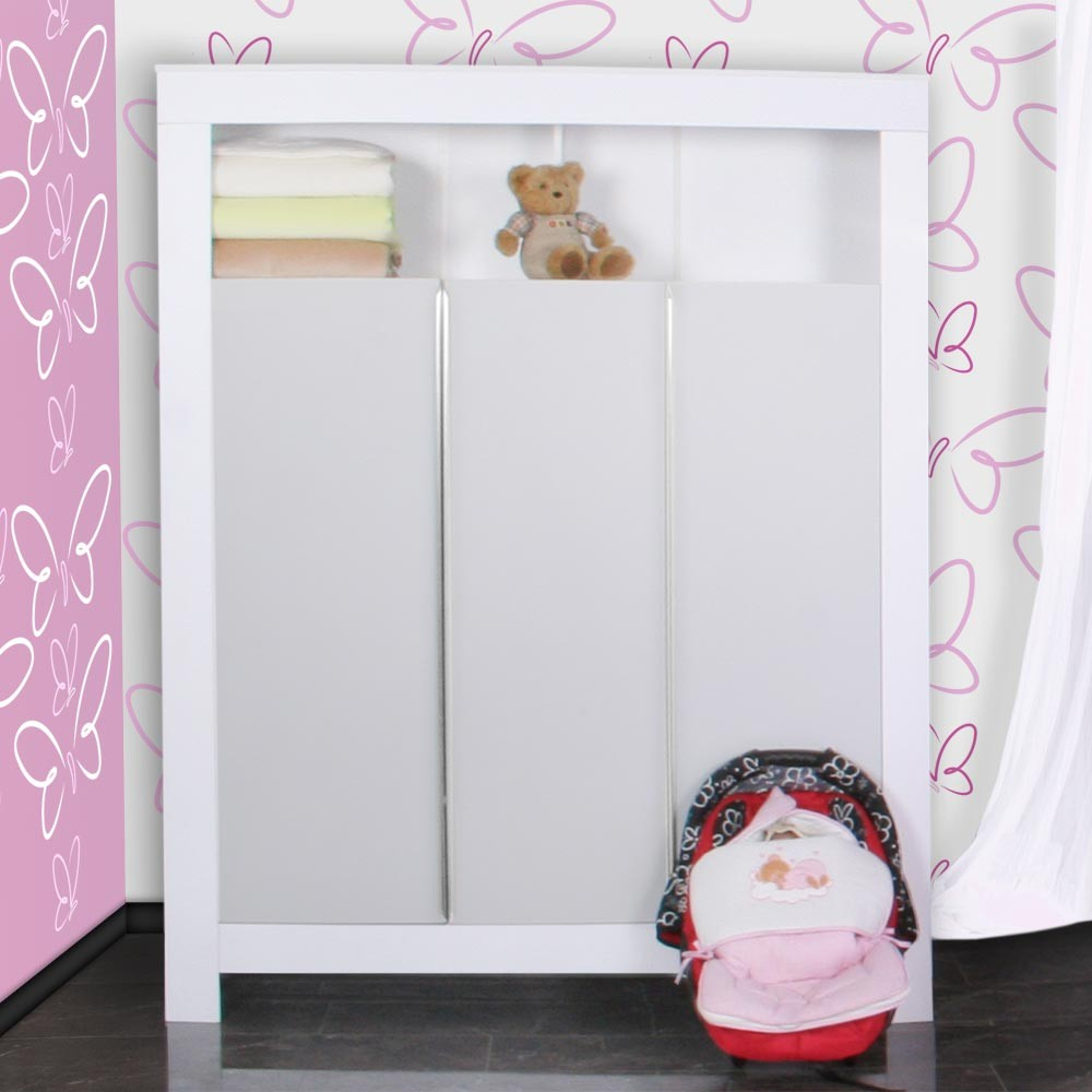 babyzimmer felix in weiss grau mit 3 t rigem kl 19 tlg. Black Bedroom Furniture Sets. Home Design Ideas