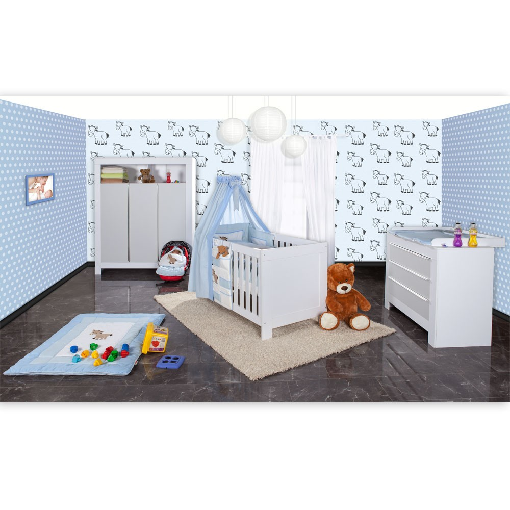 babyzimmer felix in weiss grau mit 3 t rigem kl 19 tlg prestij blau baby m bel babyzimmer. Black Bedroom Furniture Sets. Home Design Ideas