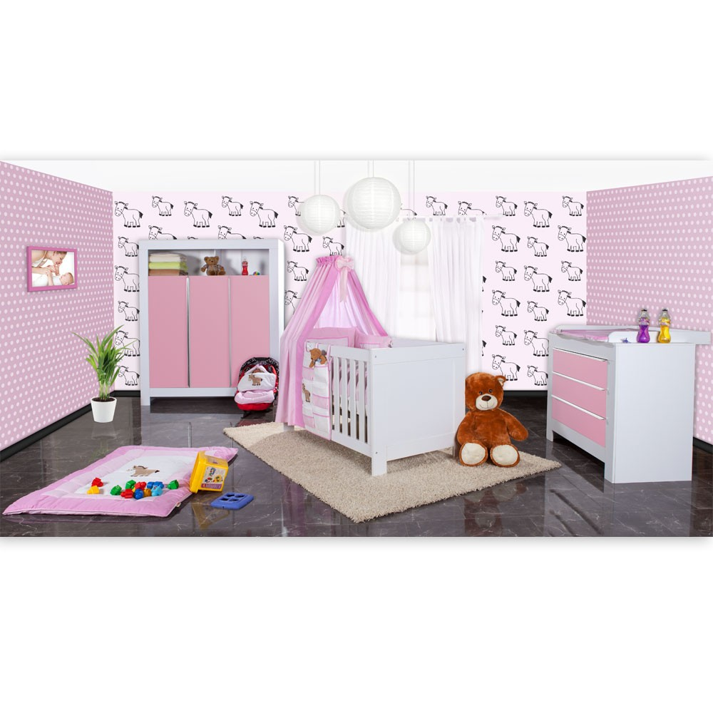 babyzimmer felix in weiss rosa mit 3 t rigem kl 19 tlg. Black Bedroom Furniture Sets. Home Design Ideas