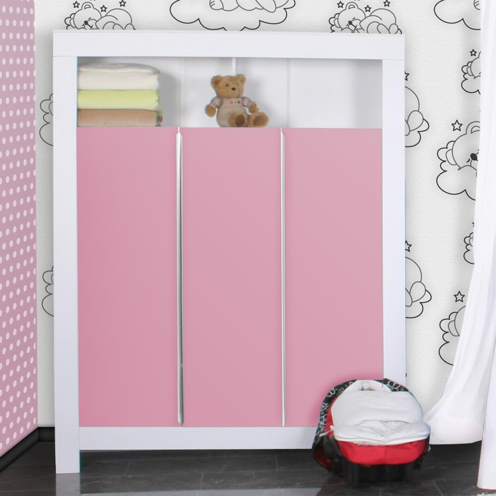 babyzimmer felix in weiss rosa mit 3 t rigem kl 19 tlg. Black Bedroom Furniture Sets. Home Design Ideas