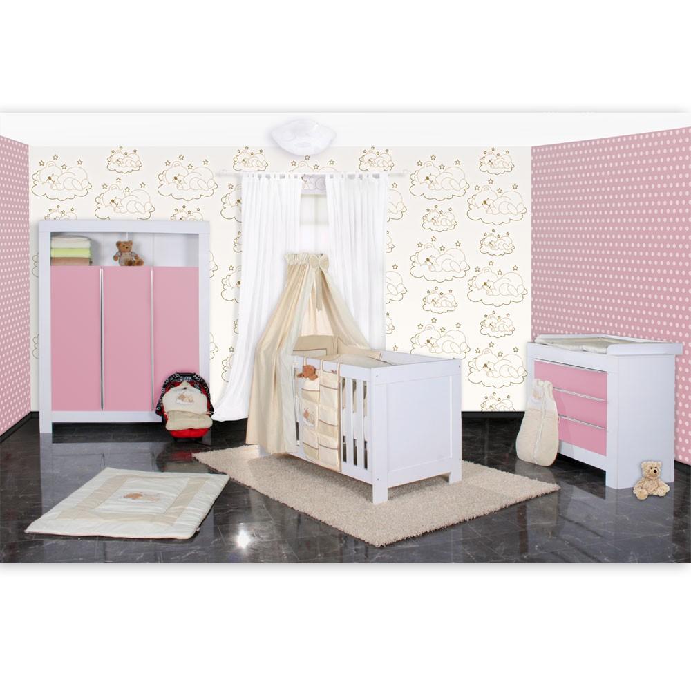 Babyzimmer Felix In Weiss/rosa Mit 3 Türigem Kl 19 Tlg. + Sleeping,
