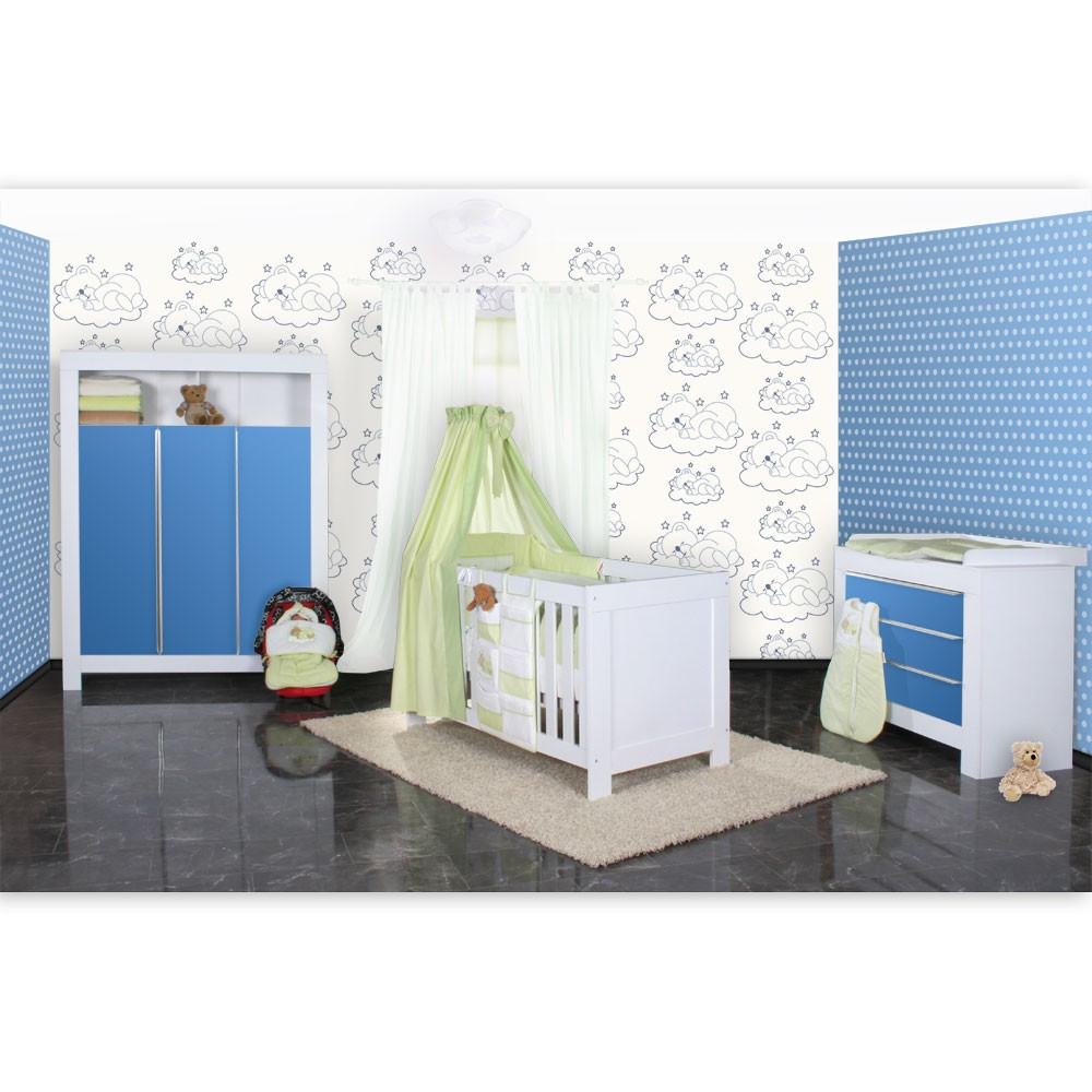 babyzimmer felix in weiss blau mit 3 t rigem kl 19 tlg. Black Bedroom Furniture Sets. Home Design Ideas