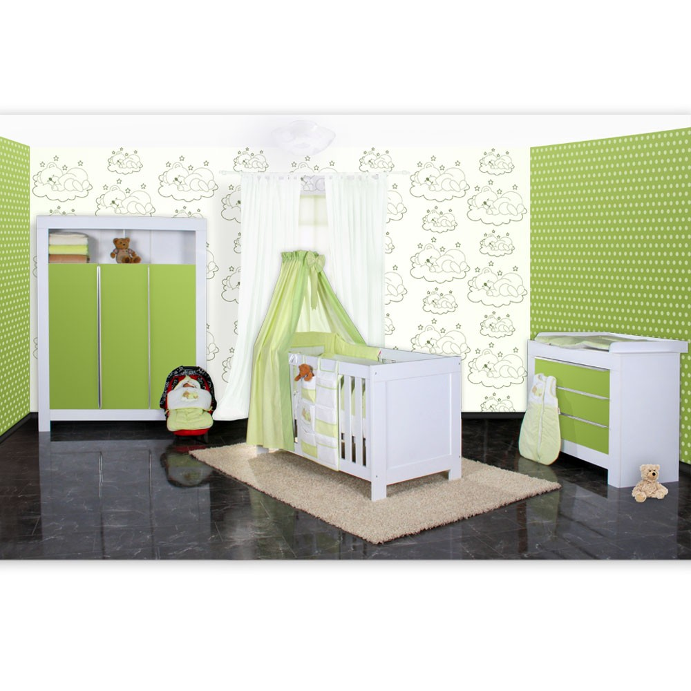 babyzimmer felix in weiss gr n mit 3 t rigem kl 19 tlg. Black Bedroom Furniture Sets. Home Design Ideas