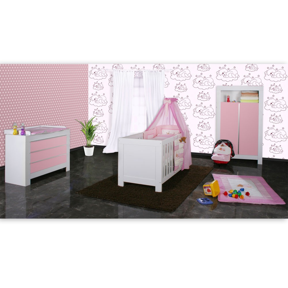 babyzimmer felix in weiss rosa 21 tlg mit 2 t rigem kl. Black Bedroom Furniture Sets. Home Design Ideas