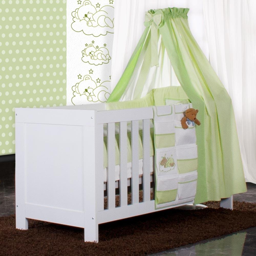 babyzimmer felix in weiss grau 21 tlg mit 2 t rigem kl sleeping bear in gr n baby m bel. Black Bedroom Furniture Sets. Home Design Ideas