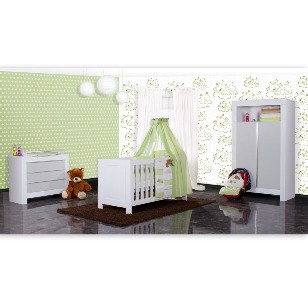 babyzimmer felix in weiss grau 21 tlg mit 2 t rigem kl sleeping bear in gr n baby m bel. Black Bedroom Furniture Sets. Home Design Ideas