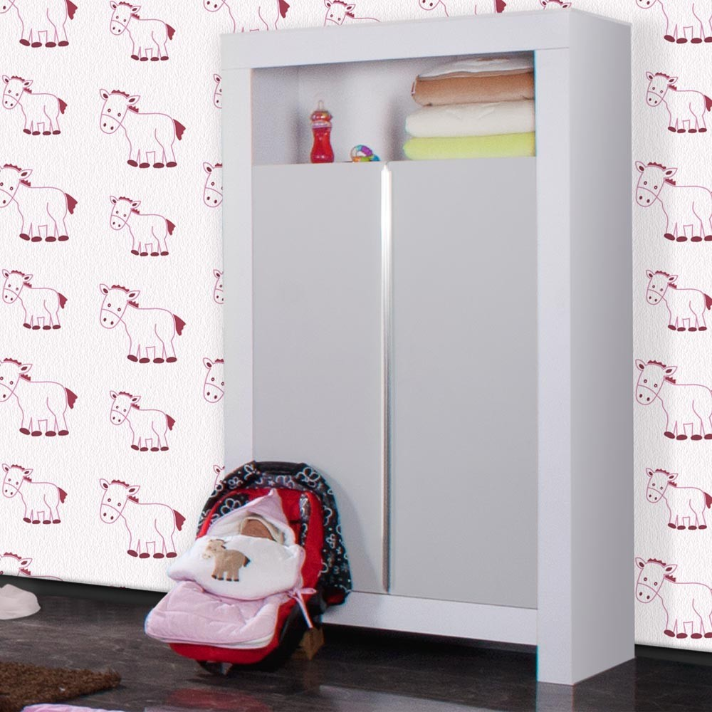 babyzimmer felix in weiss grau 21 tlg mit 2 t rigem kl. Black Bedroom Furniture Sets. Home Design Ideas