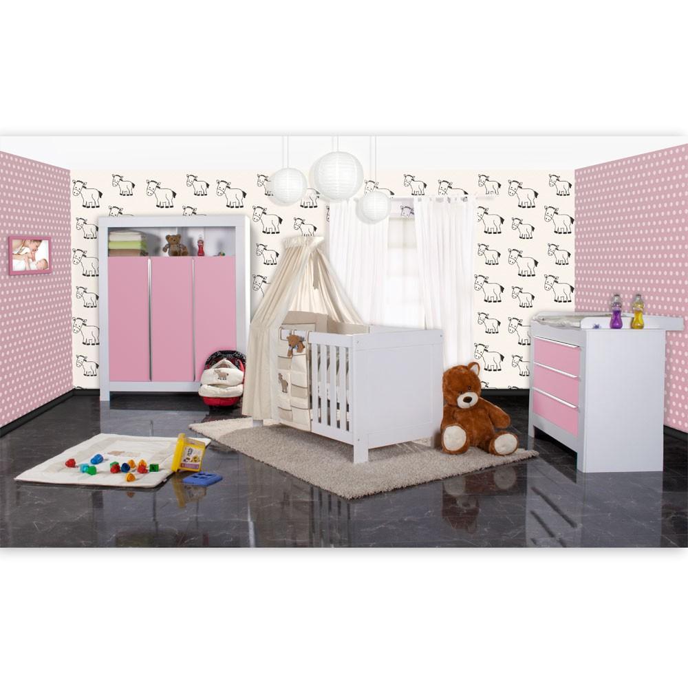 Babyzimmer Felix In Weis/rosa 21 Tlg. Mit 3 Türigem Kl + Prestij,