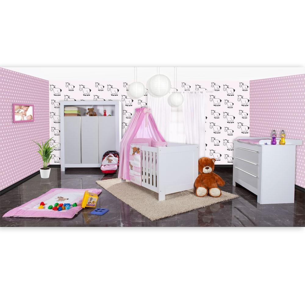 Babyzimmer Felix in weis/grau 21 tlg. mit 3 türigem Kl + Prestij ...