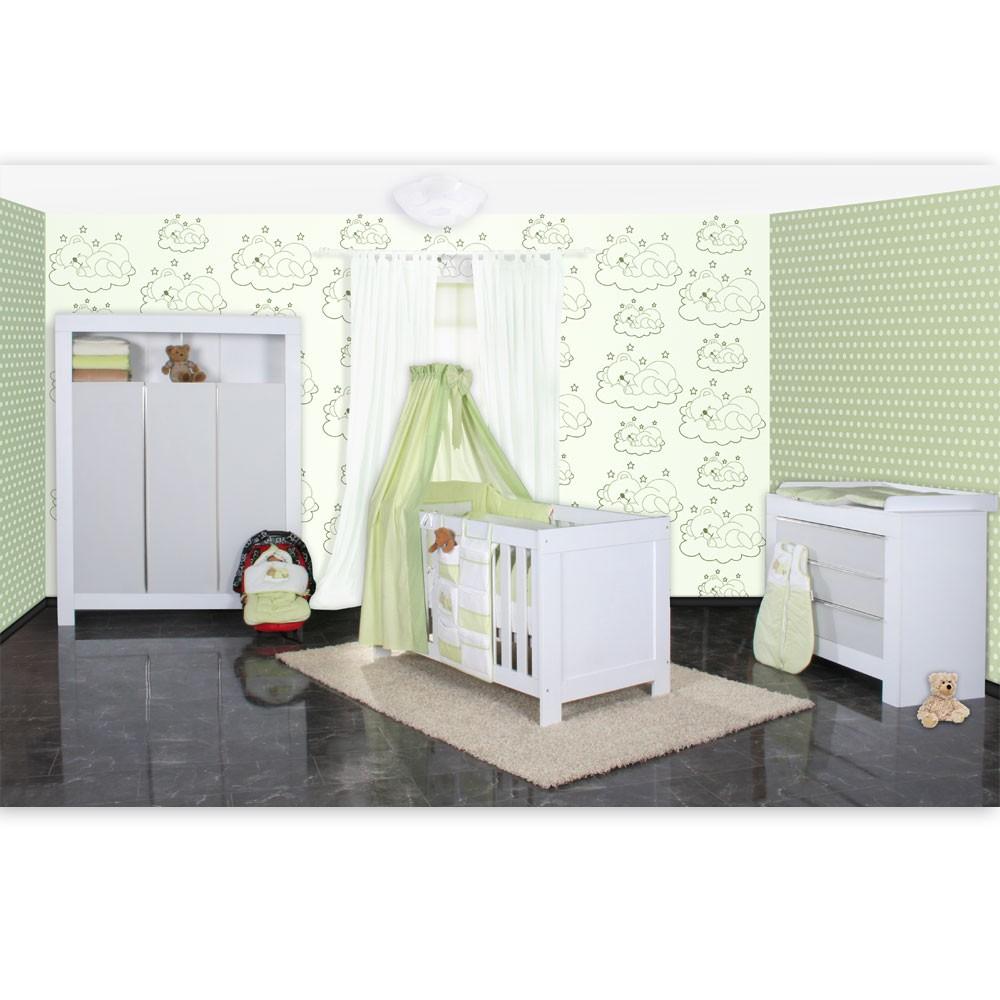 babyzimmer felix in weis grau 21 tlg mit 3 t rigem kl sleeping bear in gr n baby m bel. Black Bedroom Furniture Sets. Home Design Ideas