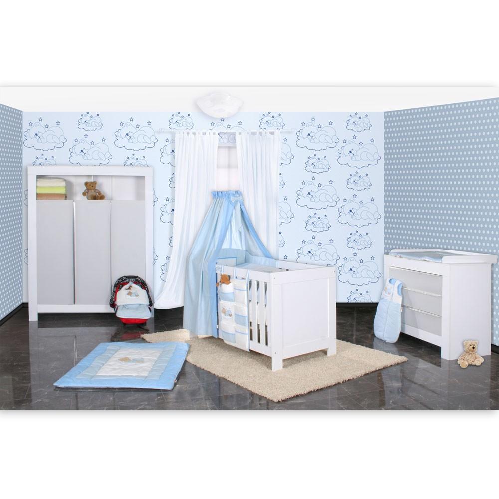Babyzimmer komplett grau  Babyzimmer Felix in weis/grau 21 tlg. mit 3 türigem Kl + Sleeping ...