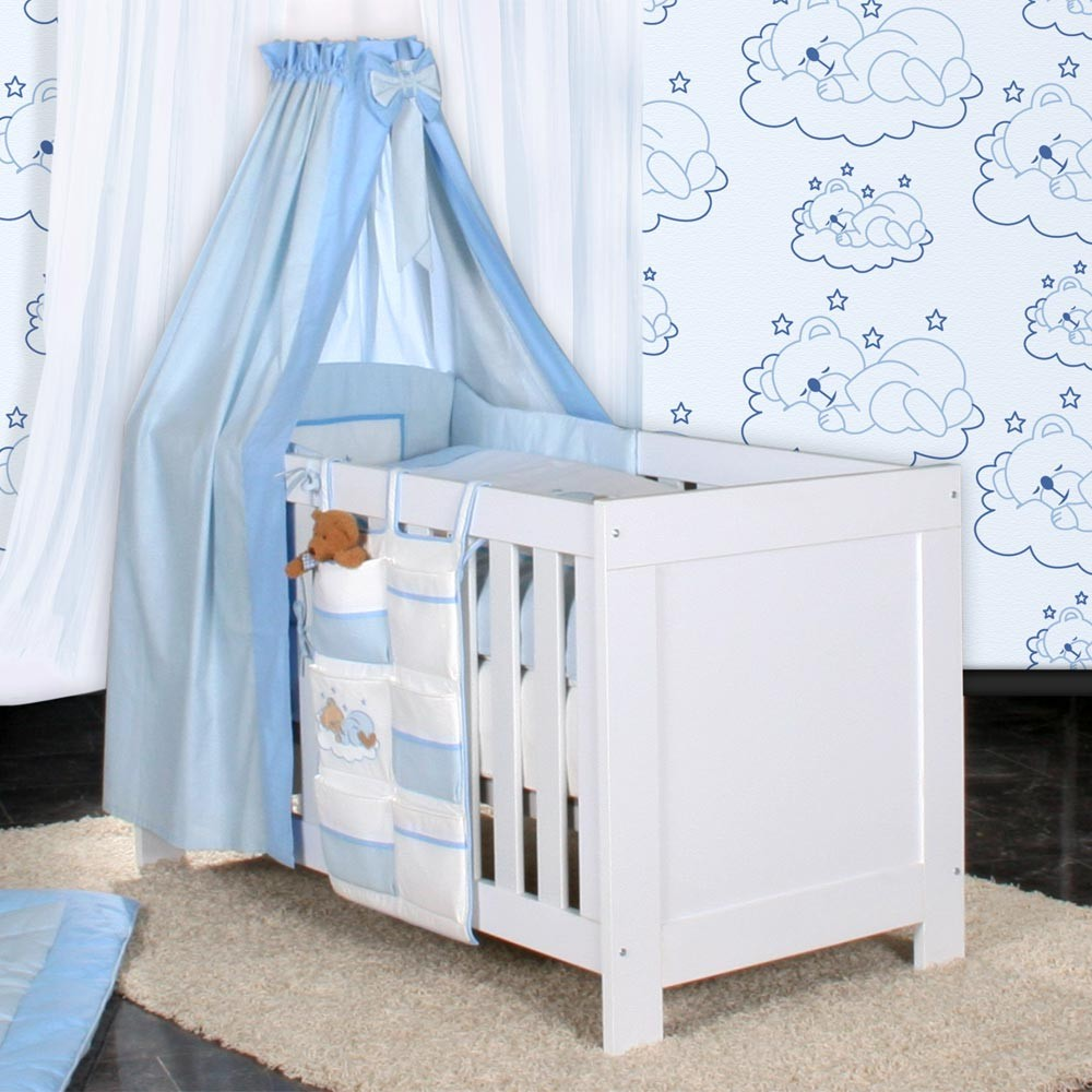 babyzimmer felix in weis grau 21 tlg mit 3 t rigem kl sleeping bear in blau baby m bel. Black Bedroom Furniture Sets. Home Design Ideas