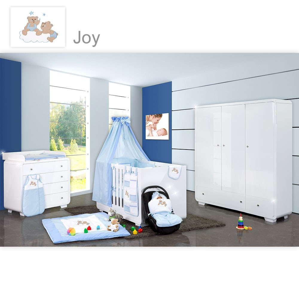 babyzimmer yves 19 tlg mit 3 t rigem schrank gr bett set von joy blau baby m bel babyzimmer. Black Bedroom Furniture Sets. Home Design Ideas