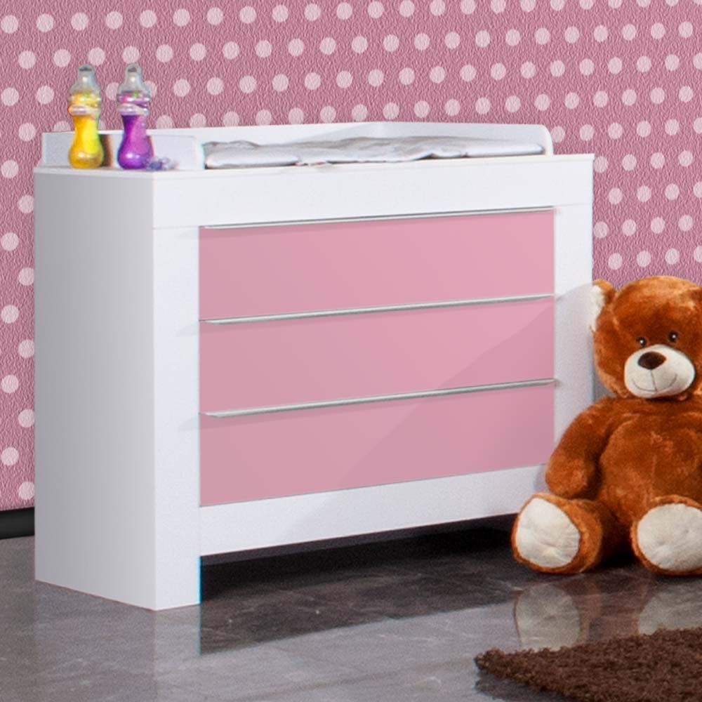 babyzimmer felix in weiss rosa 19 tlg mit 2 t rigem kl. Black Bedroom Furniture Sets. Home Design Ideas
