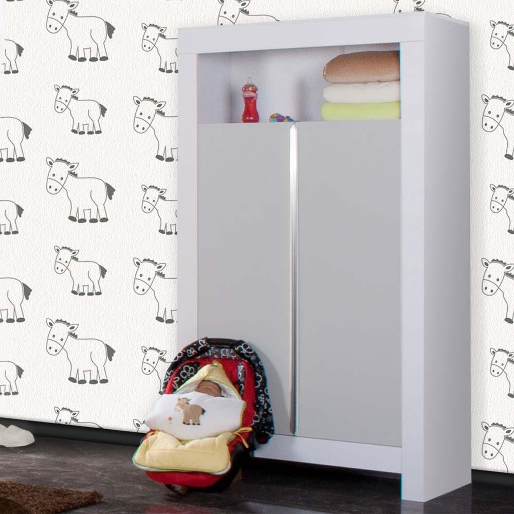 Babyzimmer Felix in weiss/grau 21 tlg. mit 2 türigem Kl ...
