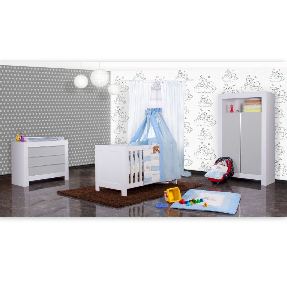 babyzimmer felix in weiss grau 21 tlg mit 2 t rigem kl joy in blau baby m bel babyzimmer. Black Bedroom Furniture Sets. Home Design Ideas