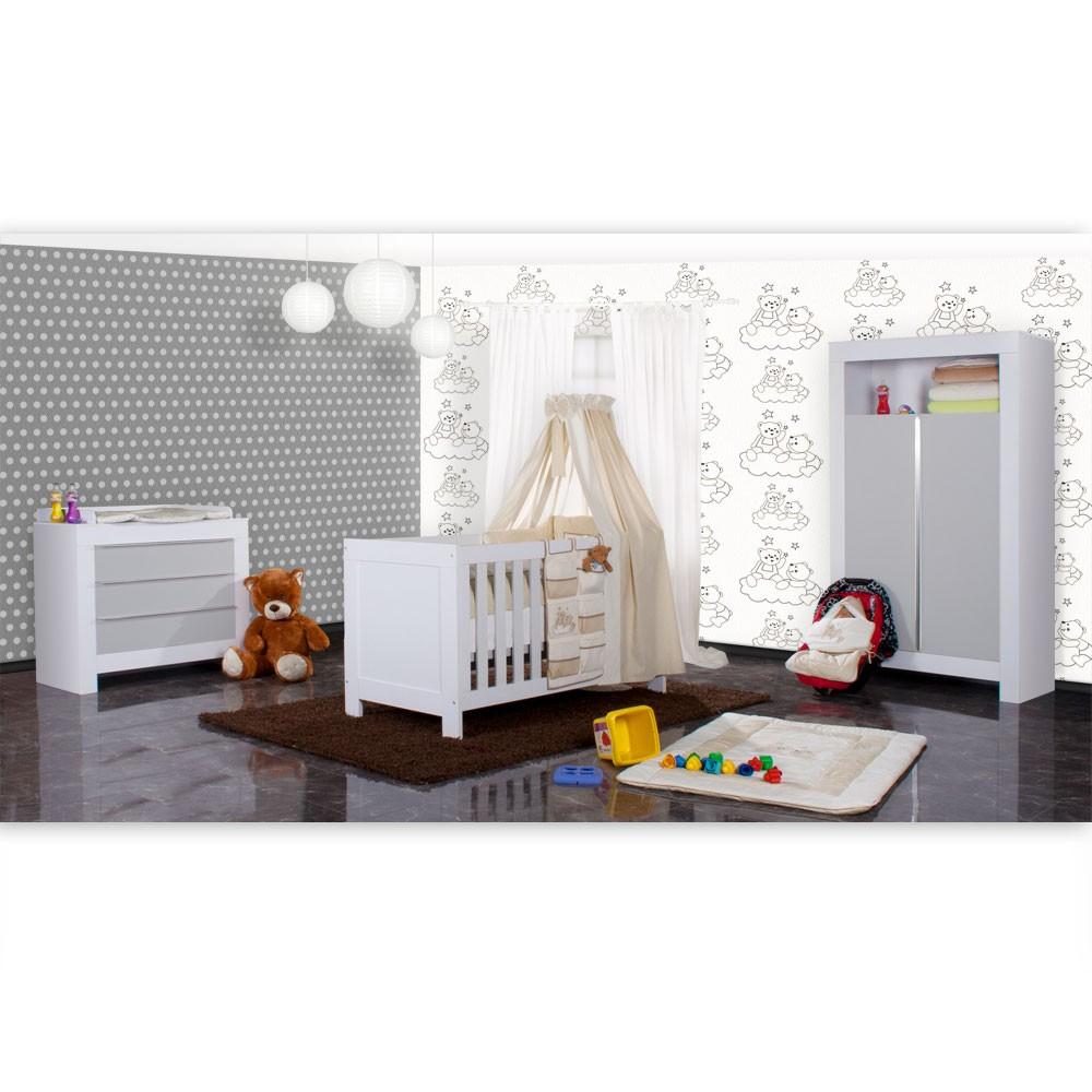babyzimmer felix in weiss grau 21 tlg mit 2 t rigem kl joy in beige baby m bel babyzimmer. Black Bedroom Furniture Sets. Home Design Ideas