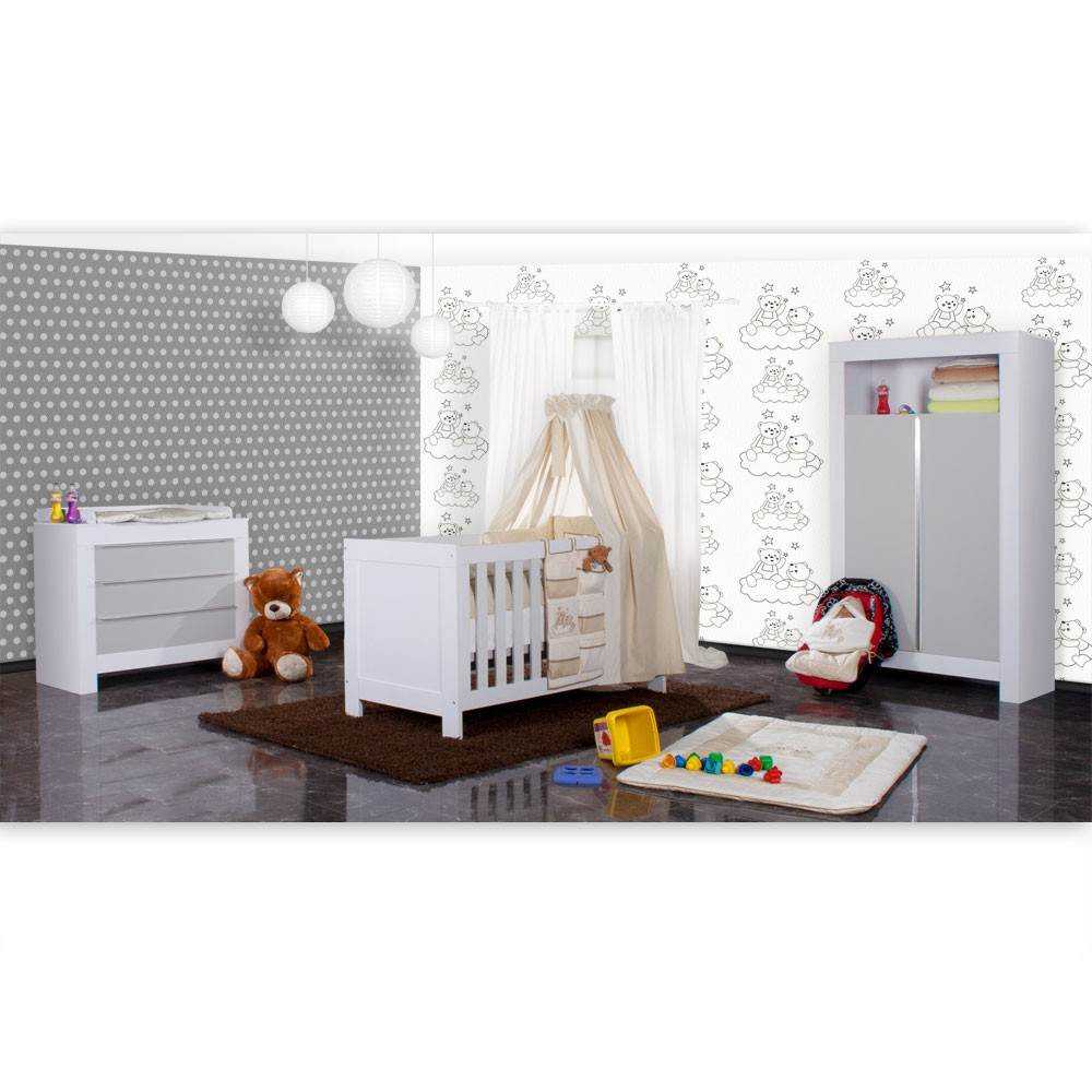 babyzimmer felix in weiss grau 21 tlg mit 2 t rigem kl. Black Bedroom Furniture Sets. Home Design Ideas