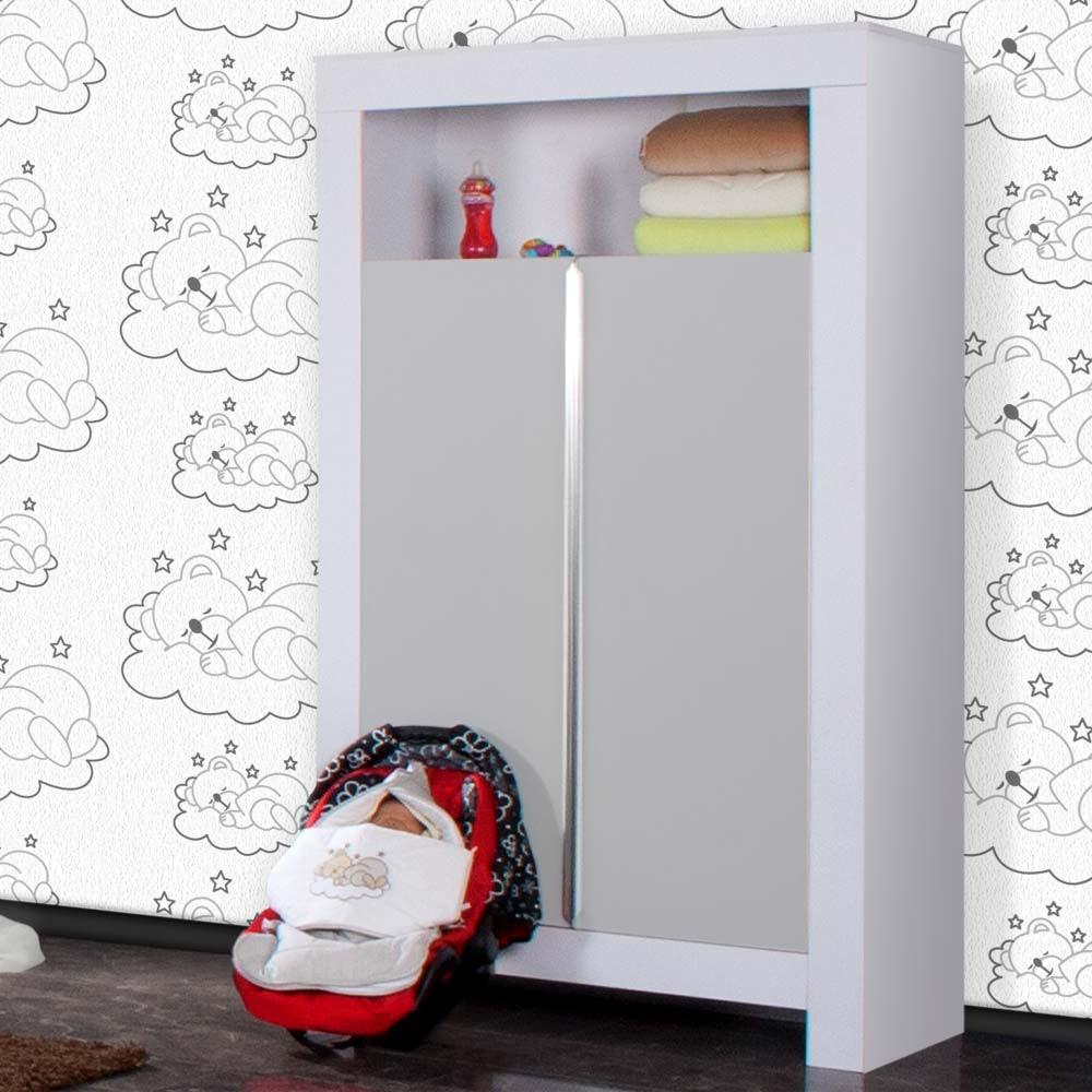 babyzimmer felix in weiss/grau 21 tlg. mit 2 türigem kl + sleeping, Wohnzimmer dekoo