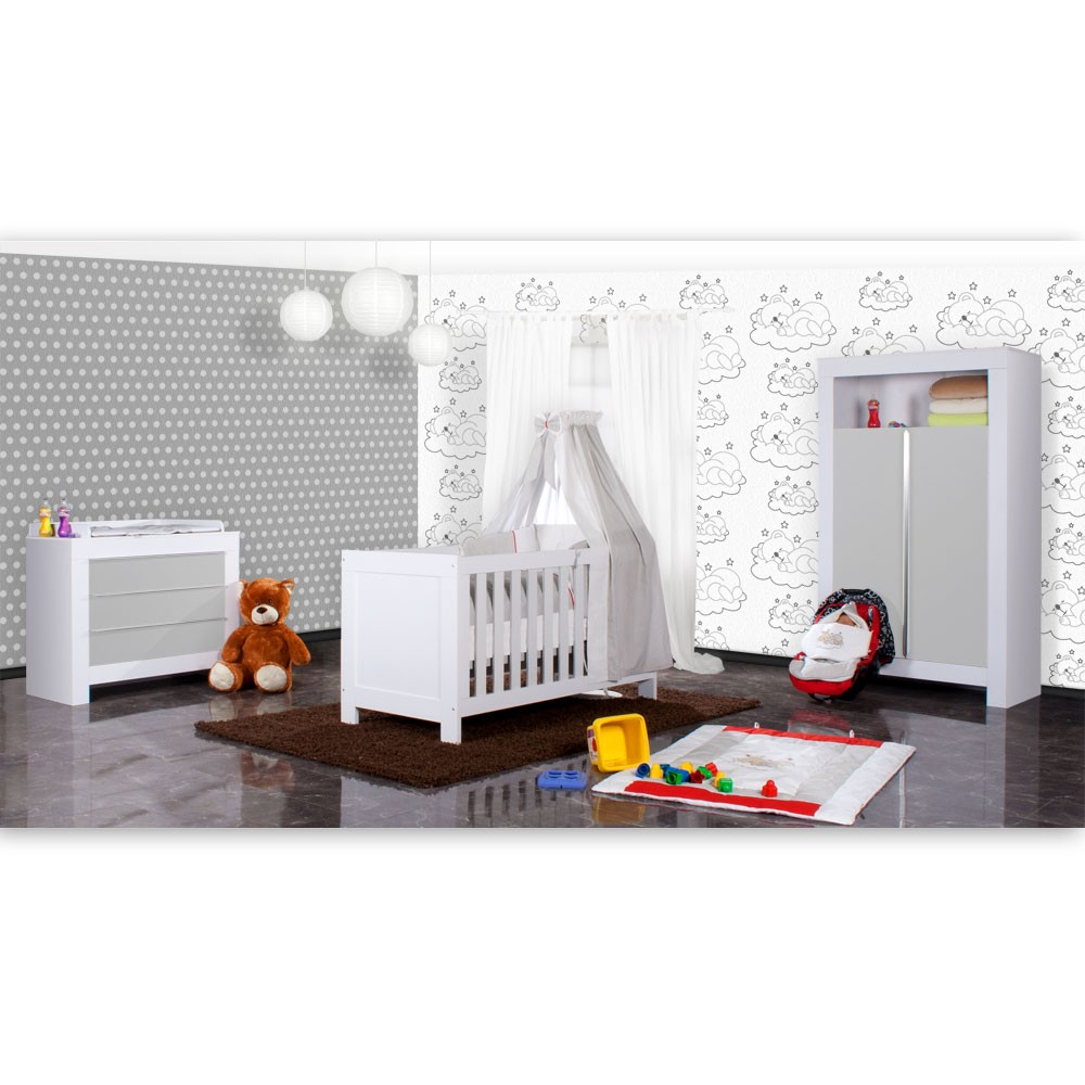 Babyzimmer weiß grau  Babyzimmer Felix in weiss/grau 21 tlg. mit 2 türigem Kl + Sleeping ...