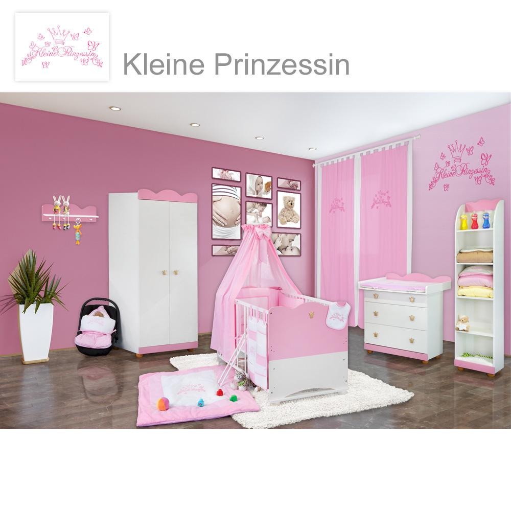 Babyzimmer 21-tlg. Kleine Prinzessin inkl. Wandregal, Standregal ...
