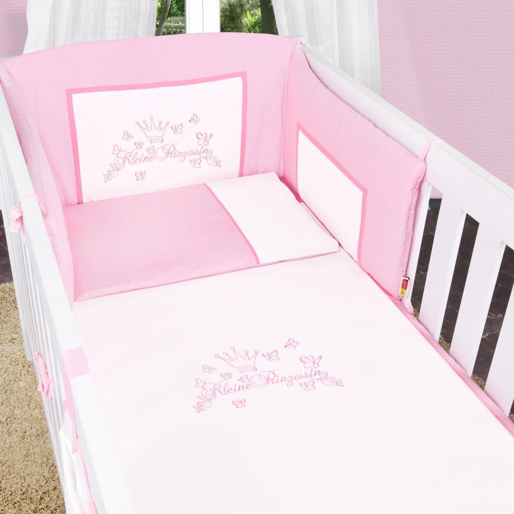 5-tlg. Babybettset Kleiner Prinz oder Kleine Prinzessin in Blau, Rosa oder Cream – Bild 18