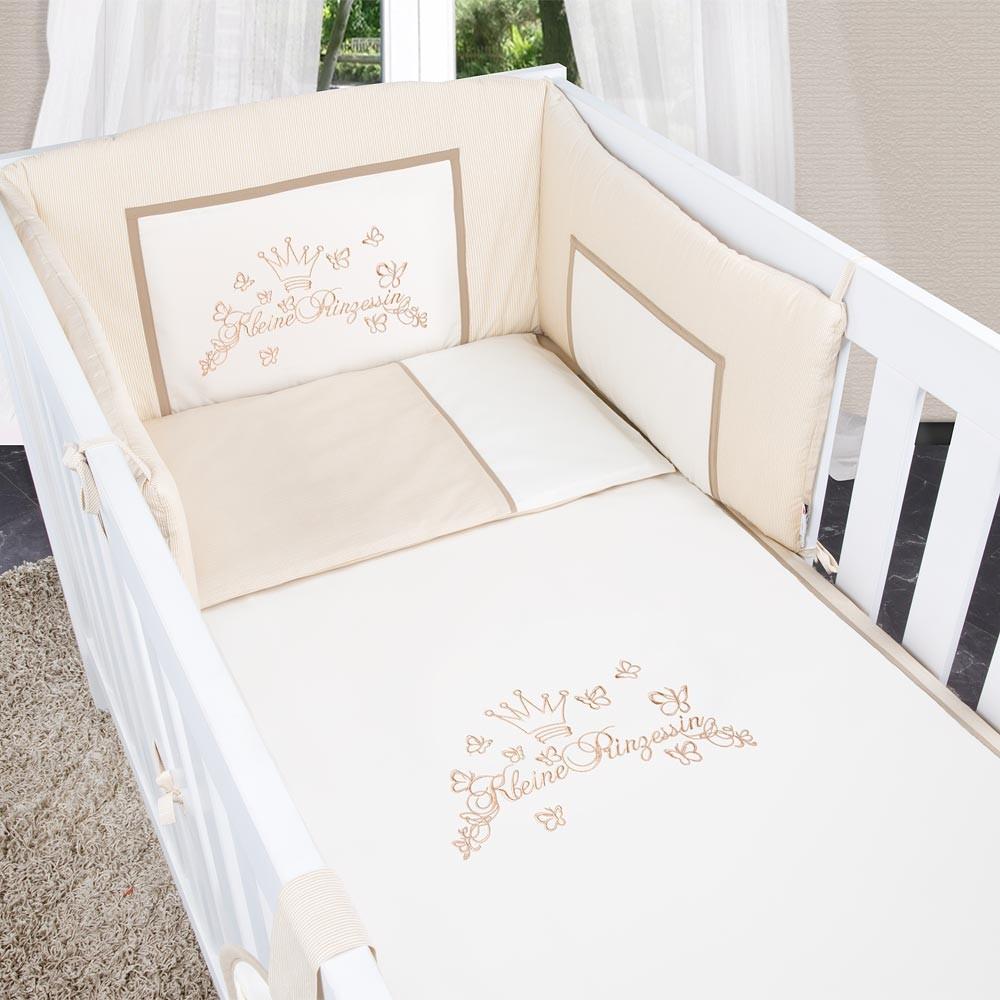 5-tlg. Babybettset Kleiner Prinz oder Kleine Prinzessin in Blau, Rosa oder Cream – Bild 22