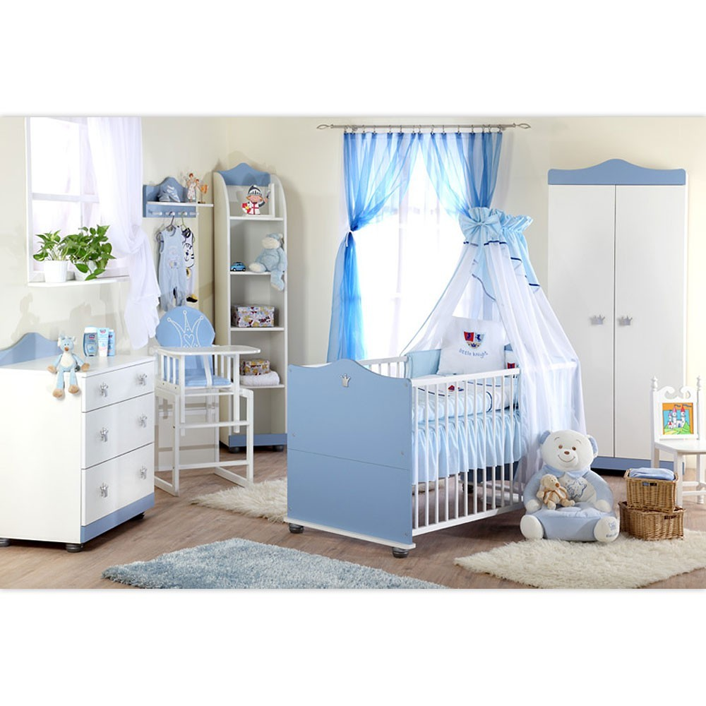 babyzimmer 7tlg kleiner prinz schrank wickelkommode wandregal babybett standregal baby m bel. Black Bedroom Furniture Sets. Home Design Ideas