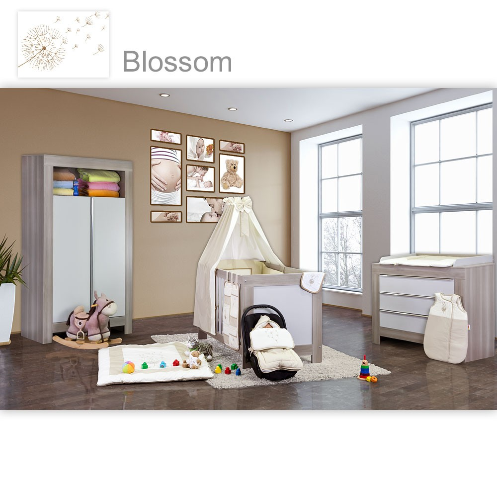 babyzimmer felix in akaziengrau 10 tlg mit 2 t rigem kl set blossom beige baby m bel. Black Bedroom Furniture Sets. Home Design Ideas