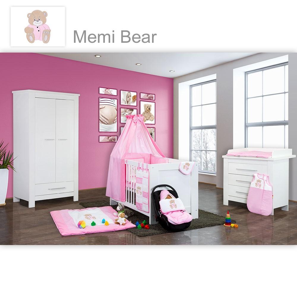 Babyzimmer Enni in weiss 19 tlg. mit 2 türigem Kl. + ...