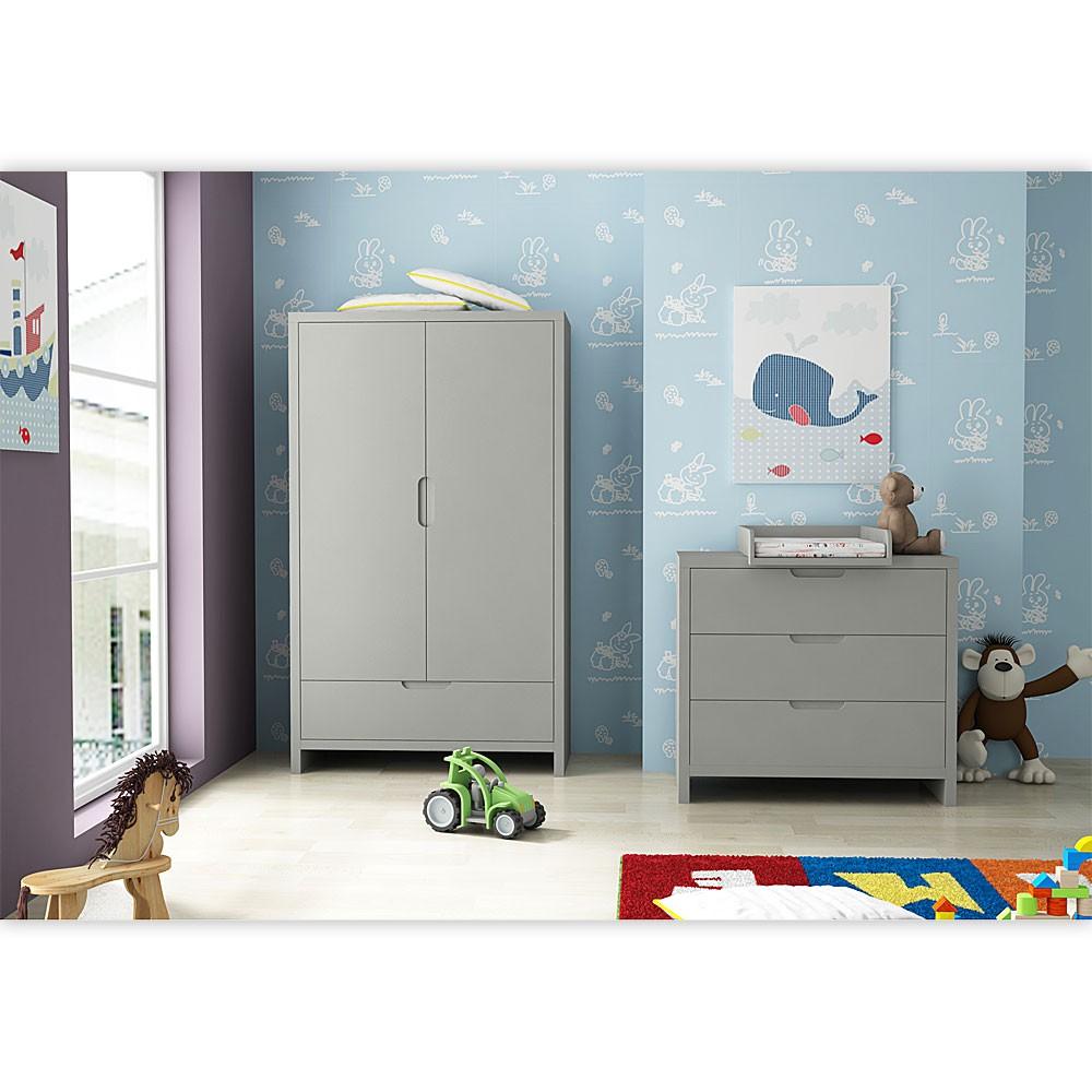 Babyzimmer / Kinderzimmer Aus Der Serie Jany Mit 2  Türigem Kleiderschrank  In Grau U2013 Bild
