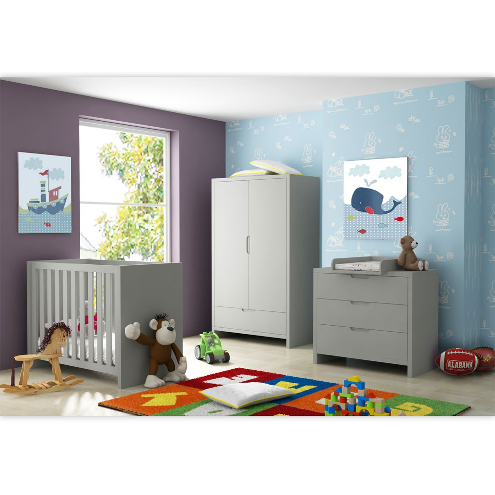 babyzimmer kinderzimmer aus der serie jany mit 2 t rigem kleiderschrank in grau baby m bel. Black Bedroom Furniture Sets. Home Design Ideas