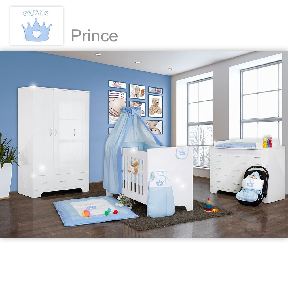 hochglanz babyzimmer 12 tlg mit prince in blau baby m bel. Black Bedroom Furniture Sets. Home Design Ideas