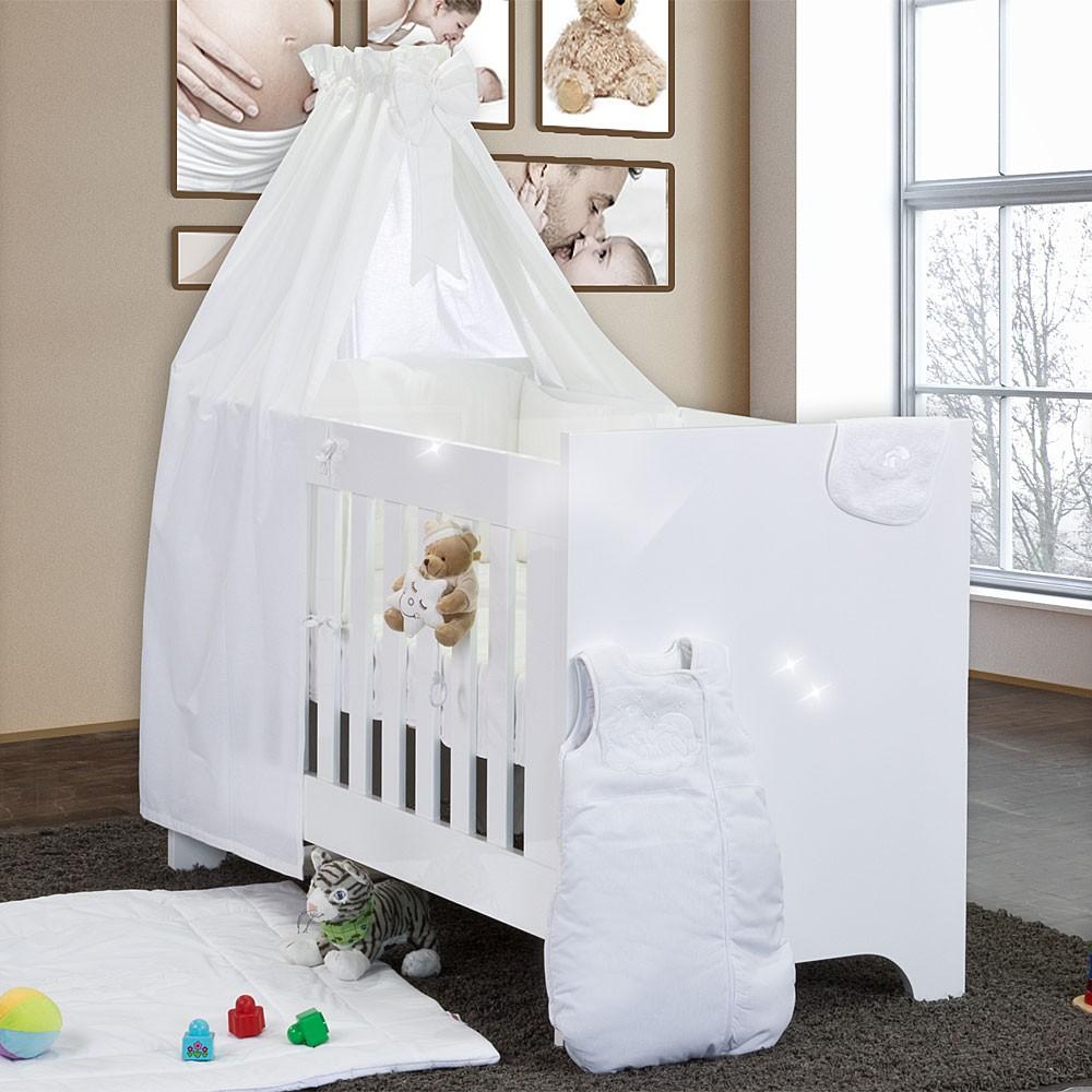 Hochglanz Babybett 10 teilig mit Sleeping Bear Weiss