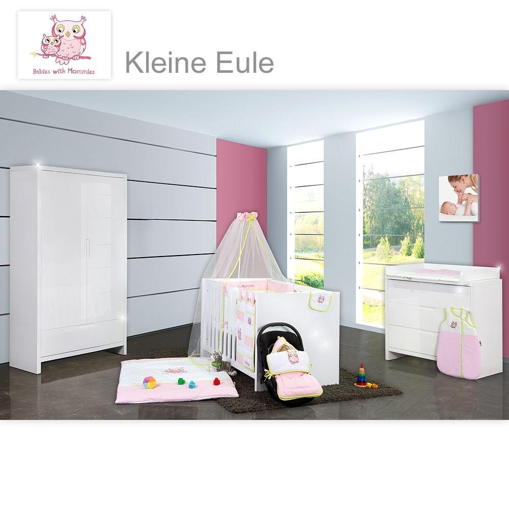 babyzimmer luiy hochglanz 10 tlg mit 2 t rigem kl textilien eule rosa baby m bel babyzimmer. Black Bedroom Furniture Sets. Home Design Ideas