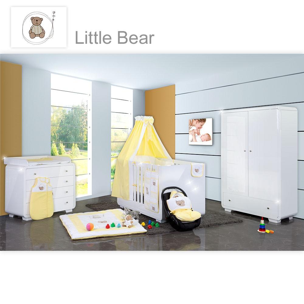 Babyzimmer yves 19 tlg mit 2 t rigem schrank kl bett textilset von little bear gelb baby - Babyzimmer gelb ...