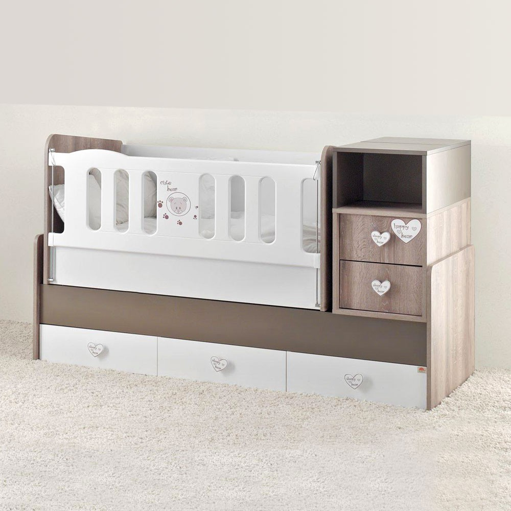 mitwachsendes babybett cute bear inkl wiege wickelkommode 5 schubladen baby m bel babybett. Black Bedroom Furniture Sets. Home Design Ideas