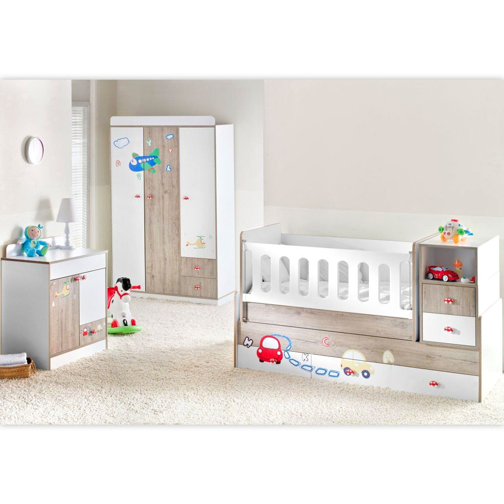 mitwachsendes babyzimmer trafic jam mit 3 t rigem kl. Black Bedroom Furniture Sets. Home Design Ideas