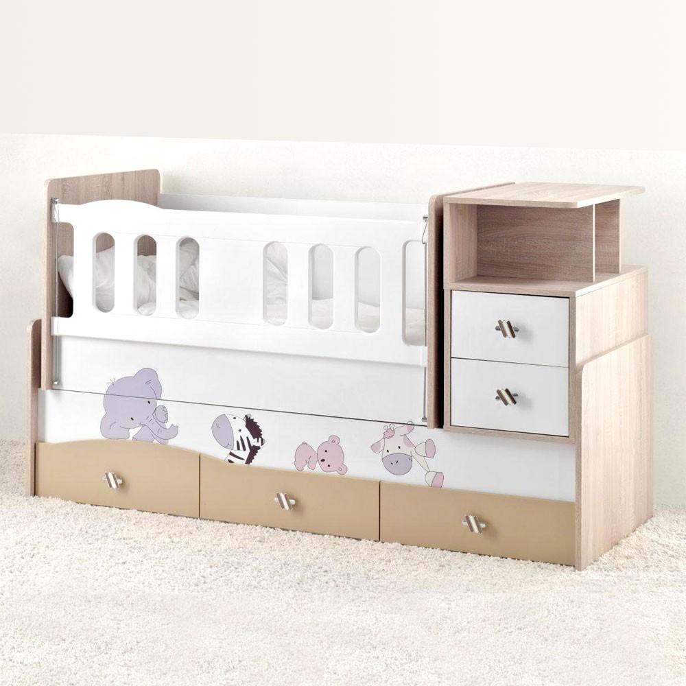 mitwachsendes babybett safari inkl wiege wickelkommode 5 schubladen baby m bel babybett. Black Bedroom Furniture Sets. Home Design Ideas